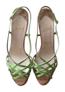 Christian Louboutin Night Cage Zeppa Nappa Strappy Sandal Metalic Green Pumps