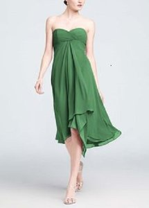 David's Bridal Clover Green Strapless Or Spaghetti Straps Chiffon Ruched Short Dress Dress