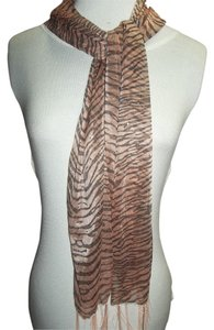 Other Sheer Neck Scarf, Zebra Print, Peach and Black, Fringed, Embellished