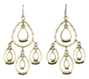 Lucky Brand Lucky Brand Earrings Hammered Gold Tone Chandelier Stone Cream White Bone