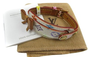 Louis Vuitton Auth LOUIS VUITTON Multi color Monogram Canvas Leather Bracelet ribbon bow