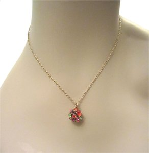 Kate Spade Lady Marmalade Disco Ball Multi-Color Pendant 12kt Gold Plated Necklace