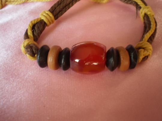 Other New Boho Agate/Chinese Red Pine Wood Bracelet Image 1