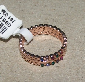 Multi Colored Topaz Rose Gold Band Ring Free Shipping
