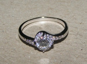 Extended Sized White Topaz Engagement Ring Free Shipping
