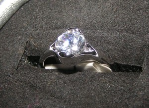 Simple Silver Topaz Promise Ring Free Shipping
