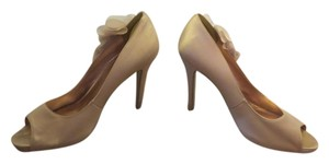 Nine West Gold Flower Peep Toe Embellishment Gold/Nude Platforms