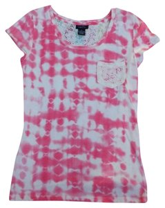 Rue 21 Womens Tie Small T Shirt Pink & White