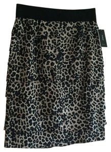 Alfani Ruffles New With Tags Stretchy Waistband Skirt Black and Beige Leopard print