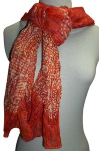 Sheer Gauze Neck Scarf, Coral/Purple/Cream Paisley and Tye Dye Design, Embellished