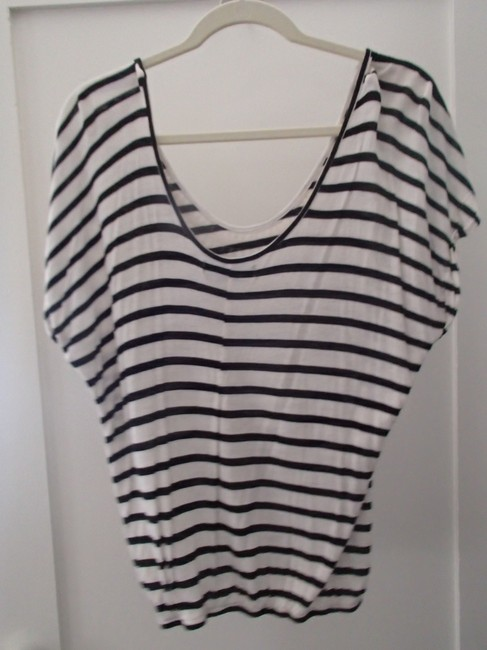 Living Doll T Shirt Black & White striped