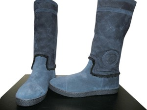Chanel Shearling Suede Boot Fur Navy Blue Boots