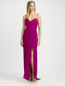 Marchesa Chiffon Slit Evening Designer Sweetheart Dress