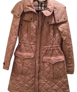 Burberry Brit Quilted Beige Ecru Natural Oatmeal Long Trench Coat