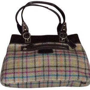 Coach Silver Hardware Satchel in Grey and Jewel Tone Plaid