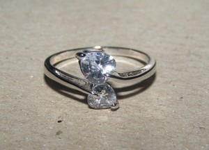 2 Heart White Gold Filled Ring Free Shipping
