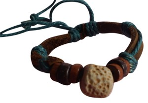 New Boho Leather/Wood Bracelet