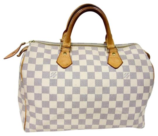Preload https://item3.tradesy.com/images/louis-vuitton-speedy-signature-damier-ebene-30-azure-leather-satchel-842222-0-3.jpg?width=440&height=440