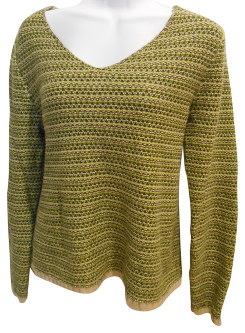 Christopher & Banks V-neck Light Light Shirt L Large 12 14 Olive Sweater