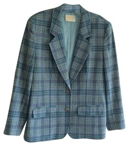 Pendleton 100% Virgin Wool blue, muted green and pink over soft white plaid Blazer