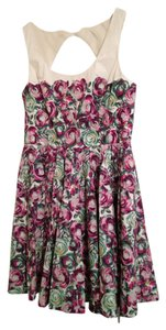 LC Lauren Conrad short dress Pink/Green Floral Cut-out on Tradesy