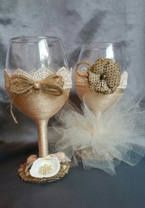 Beach Wedding Wine Glass Set