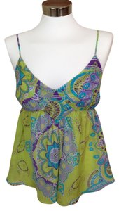 Joie Paisley Spaghetti Straps Empire Waist Tunic Camisole Top Green