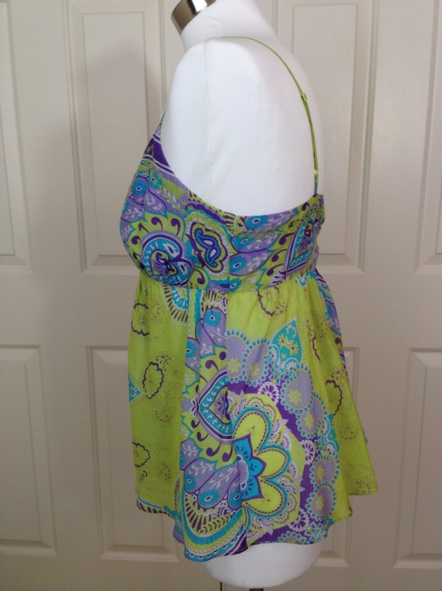 Joie Paisley Spaghetti Straps Empire Waist Tunic Camisole Top Green Image 1