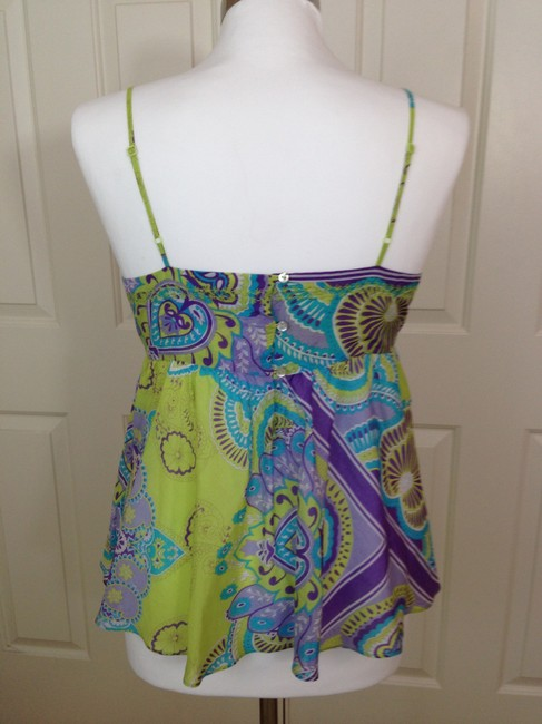 Joie Paisley Spaghetti Straps Empire Waist Tunic Camisole Top Green Image 2