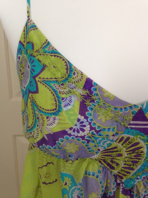 Joie Paisley Spaghetti Straps Empire Waist Tunic Camisole Top Green Image 6