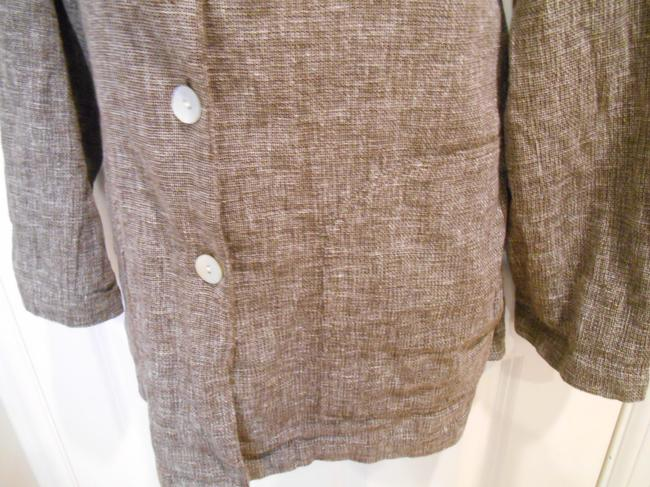 Dialogue Linen Tan Earthy Professional Organic Office Saturday Dressy Casual Xl Jacket Extra Large 1x 14 16 Brown Blazer