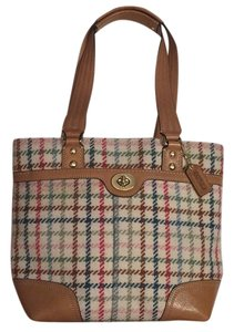 Coach Plaid Jewel Tones Tote in Ivory and Multi-Plaid