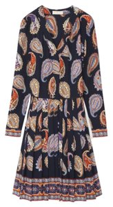 Tory Burch PLEATED SILK LONG-SLEEVE DRESS