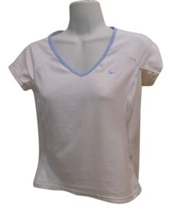 Nike Dri-fit Shirt Sport Activewear Gym Yoga Xs 2 0 T Shirt White with Baby Blue