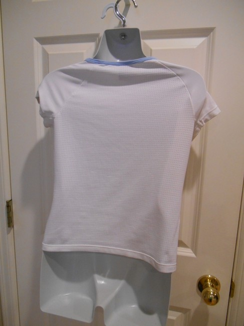 Nike Dri-fit T-shirt Sport Activewear Gym Yoga Xs 2 0 T Shirt White with Baby Blue