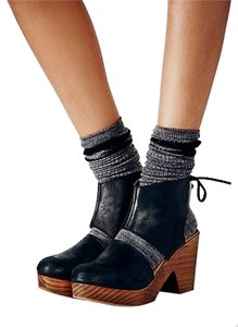 Free People Lace-up Leather Black Mules