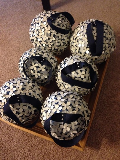 Navy White Green Aisle Decor Kissing/Pomander Balls with Ribbon Attached Ceremony Decoration