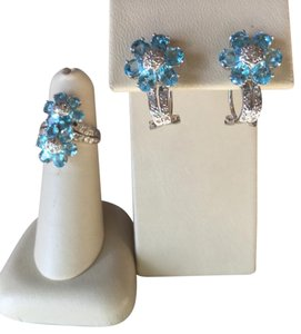 BARMAKIAN EARRINGS AND RING WITH DIAMONDS, BLUE TOPAZ AND 14K WHITE GOLD