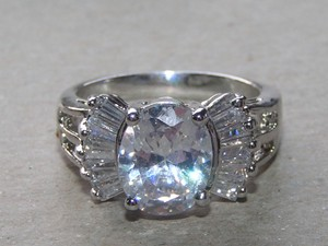 Mixed Cut White Topaz Fashion Ring Free Shipping
