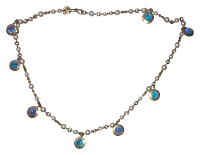 Item - Blue Green Gold Pearl Charm Multi Color Necklace