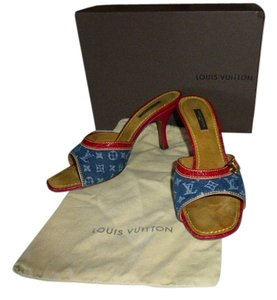Louis Vuitton DENIM MONOGRAM CANVAS RED LEATHER Mules