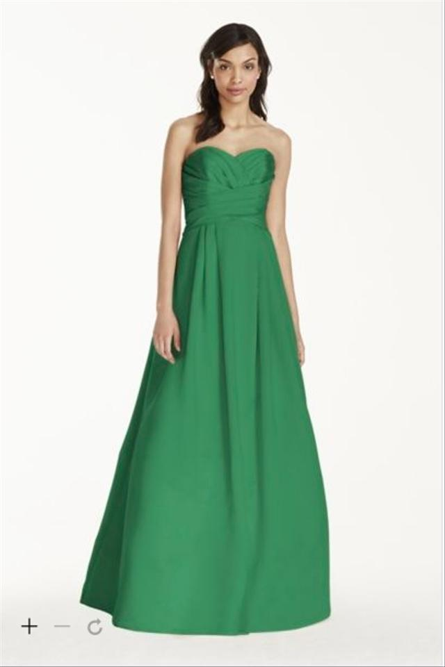 David\'s Bridal Clover Satin Strapless Pleated Bodice Ball Gown ...