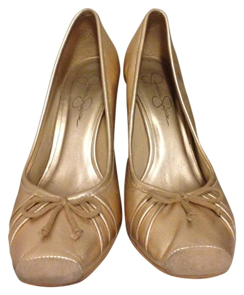 5e0d92fdb62a Jessica Simpson Comfortable Leather Ballerina Wedge Bow Gold Pumps Image 0  ...