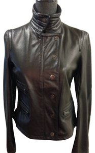Emporio Armani Size 6 Black Napa Leather Leather Jacket