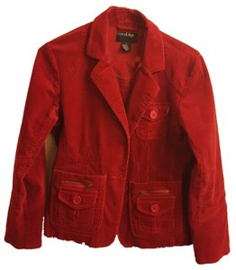 Outer Edge Casual Corduroy Zipper-detail Red Blazer
