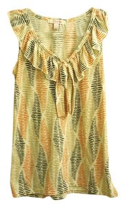 Other Ruffle Patterned Top Orange, Tan and Brown
