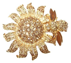 St. John 24kt Gold-Plated Sunflower and Bee with Swarovski Crystals Pin Signed