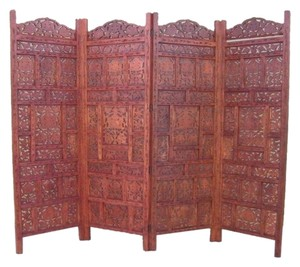 Woodland Imports Baroque Inspired 4-Panel Room Divider (Mango Wood)