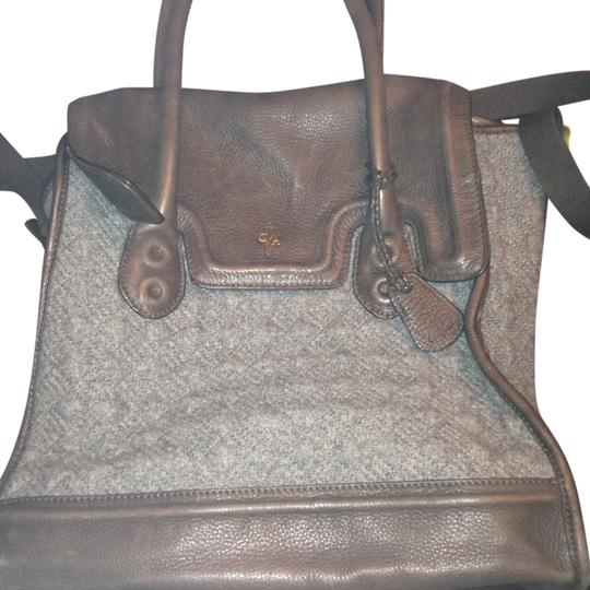 Cole Haan Gray Flannel Brown Leather Messenger Bag