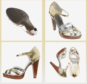 Oh Deer! Metallic Snake Leather Studded Designer Sandal Chic Wood Glam Gold & Silver Platforms